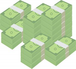 Stacked piles of cash..