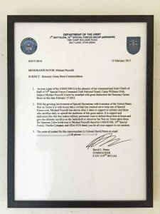 Letter accompanying the Green Beret award
