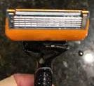 close-up of Gillette razor after six months use