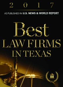 Picture of award given to Michael Pezzulli that reads: Best Law Firms in Texas as published in U.S. News & World Report