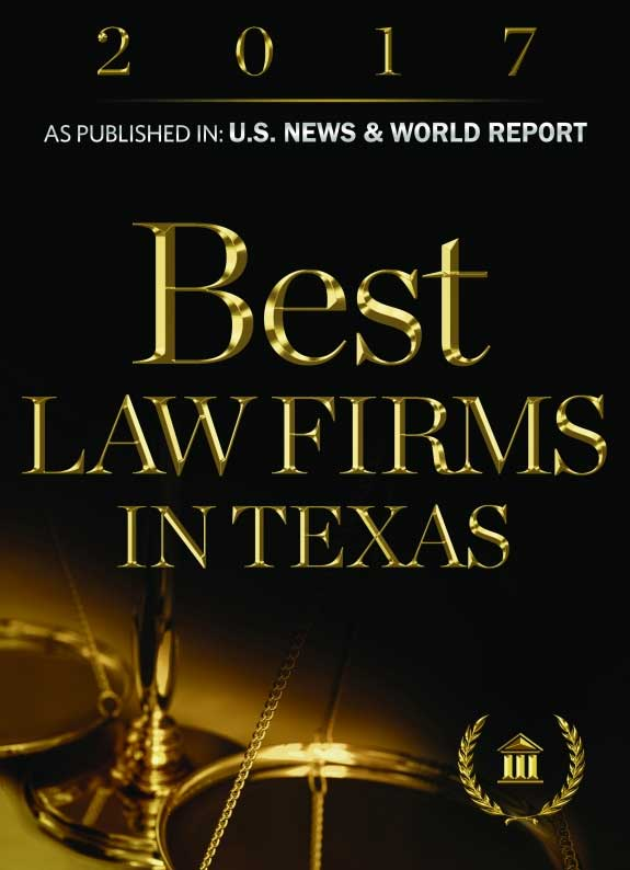 Picture of award given to Michael Pezzulli that reads: Best Law Firms in Texas as published in U.S. News and World Report