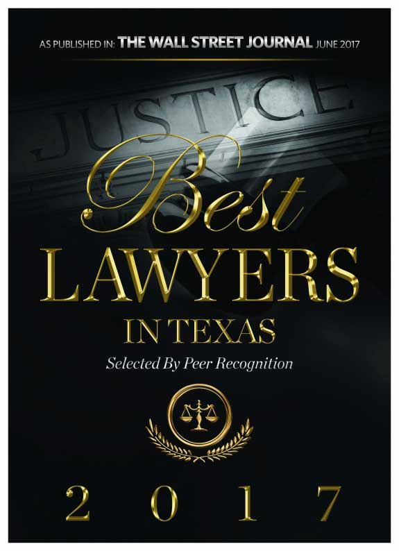 Picture of award given to Michael Pezzulli that reads: Best Lawyers in Texas as published in The Wall Street Journal