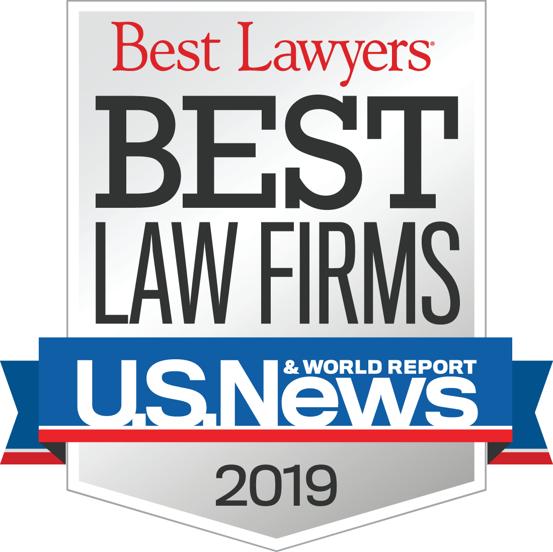 Picture of award given to Michael Pezzulli that reads: Best Lawyers Best Law Firms U.S. News & World Report 2019